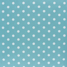 Poppy cotton Fabric -Medium blue white dot x 10cm