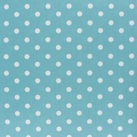 Tissu coton Popeline Poppy - Pois blanc - bleu houle x 10cm