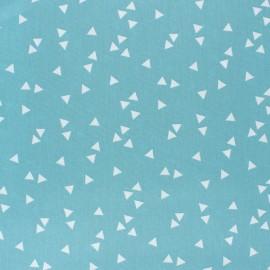 Tissu coton Popeline Poppy Triangle - bleu houle x 10cm