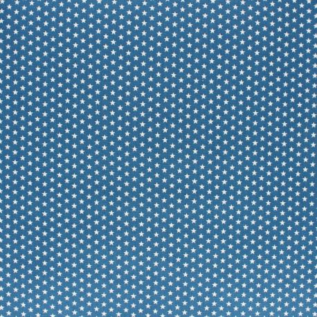 Tissu coton Popeline Poppy - Mini Etoiles - bleu houle x 10cm