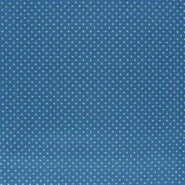 Tissu coton Popeline Poppy - Mini pois - bleu houle x 10cm