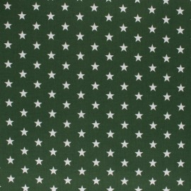 Poppy cotton Fabric - Pine green white star x 10cm