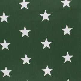 Poppy cotton Fabric - Pine green Big white star x 10cm