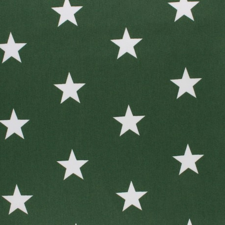 Tissu coton Popeline Poppy - Grandes Etoiles - vert sapin x 10cm
