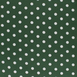 Poppy cotton Fabric - Pine green white dot x 10cm
