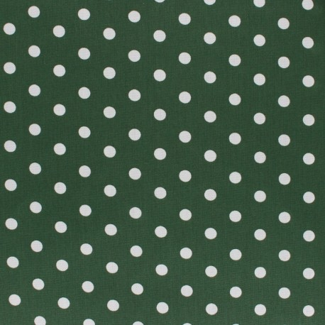Tissu coton Popeline Poppy - Pois blanc - vert sapin x 10cm