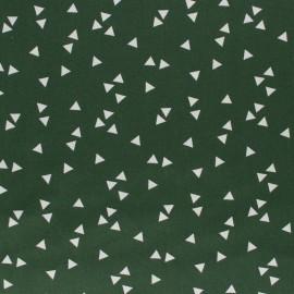 Poppy cotton Fabric - Pine green white Triangle x 10cm