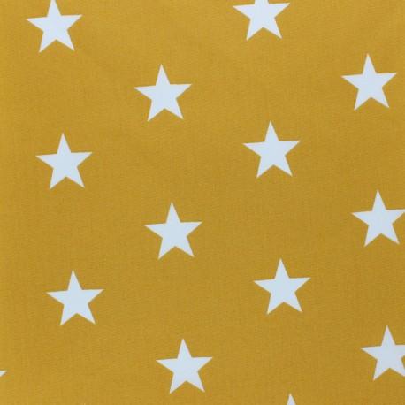 Poppy cotton Fabric - mustard yellow Big white star x 10cm