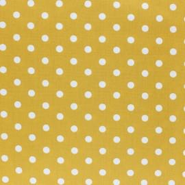 Poppy cotton Fabric - Mustard yellow white dot x 10cm