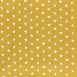 Tissu coton Popeline Poppy - Etoiles blanches - moutarde x 10cm