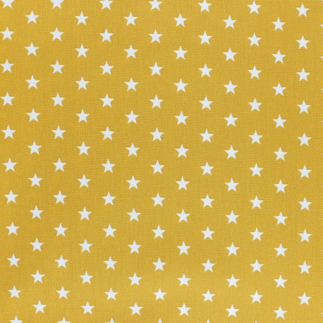 Poppy cotton Fabric - Mustard yellow white star x 10cm