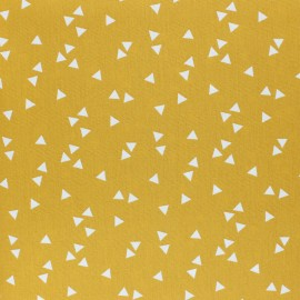 Poppy cotton Fabric - mustard yellow white Triangle x 10cm