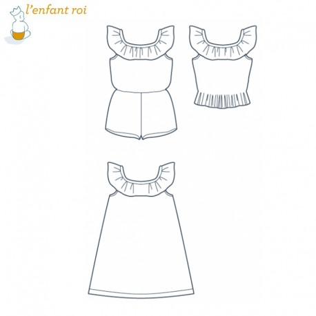 Dress Sewing Pattern - Mia 2 L'Enfant Roi from 4 to 14 yo