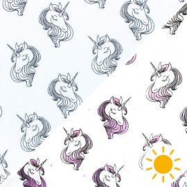Color Changing jersey fabric - white Magic Unicorn x 10cm