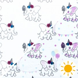 ♥ Coupon 150 cm X 140 cm ♥ Tissu Jersey Photosensible Elephant Party - blanc