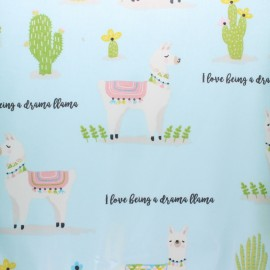 Coated cotton fabric - blue Fryett's Drama Llama x 10cm