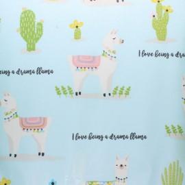 Tissu coton enduit Fryett's Drama Llama - bleu x 10cm