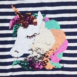 Tissu Jersey sequin réversible Licorne - Panneau x 70cm