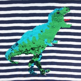 Tissu Jersey sequin réversible Dino - Panneau x 68cm