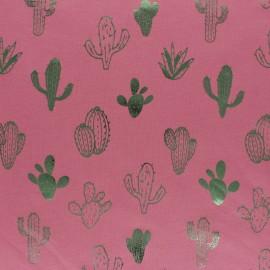 Cotton Jersey fabric - blue/Metallic green Cactus Passion x 10cm