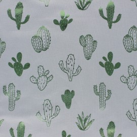 Cotton Jersey fabric - pink/Metallic green Cactus Passion x 10cm