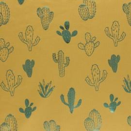 Cotton Jersey fabric - Grey/Metallic green Cactus Passion x 10cm