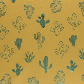 Tissu jersey Passion Cactus - jaune/vert métallisé x 10cm