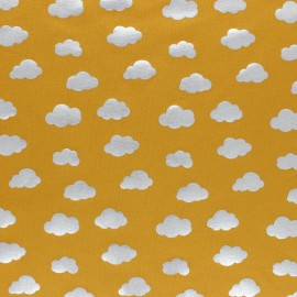 Cotton Jersey fabric - Yellow/Silver Cloud Passion x 10cm