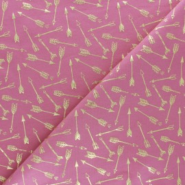 Cotton Jersey fabric - Pink/Gold  Arrow Passion x 10cm
