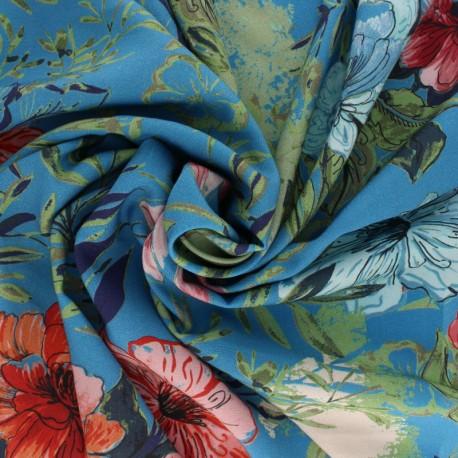 Tissu Viscose Fanny - bleu x 10cm