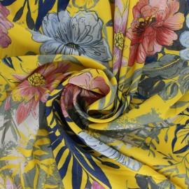 Elastane Flowery Viscose fabric - Blue Fanny x 10cm
