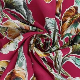 Elastane Flowery Viscose fabric - yellow Fanny x 10cm