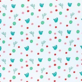 stitched cotton fabric - white Cactus x 10cm