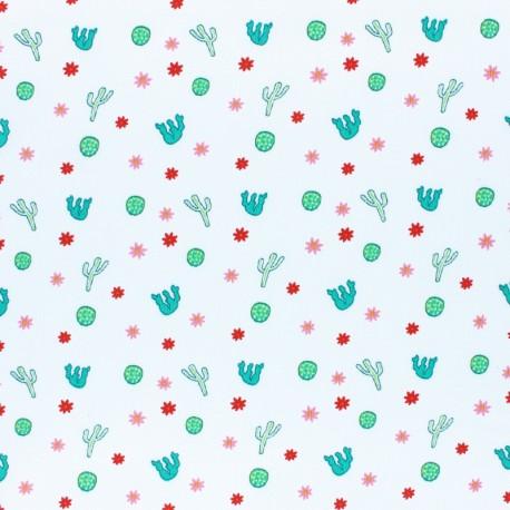 stitched cotton fabric - white Ladybug x 10cm