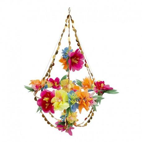 Tissue Paper Blossom Chandelier - Bright