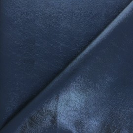 High quality faux leather fabric - Metallic blue Queenie x 10cm