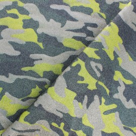 High quality faux leather fabric - Glittery green Camouflage x 10cm