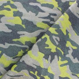 Tissu Simili cuir souple Camouflage - vert pailleté x 10cm