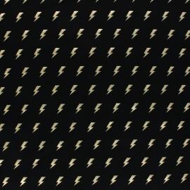 Cotton Jersey fabric - black/gold Thunder x 10cm
