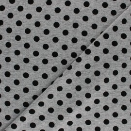 Viscose jersey fabric - Grey Black Dot x 10 cm