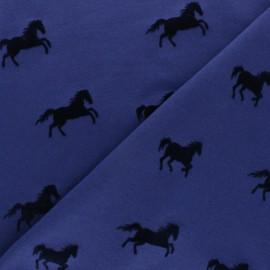 Tissu jersey floqué velours cheval - bleu x 10cm