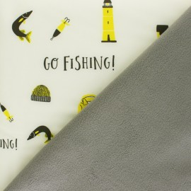 Softshell fabric - cream Let's go Fishing x 10cm