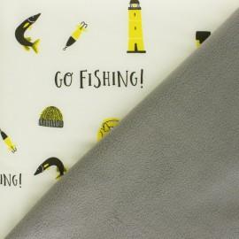 Tissu Softshell Let's go Fishing - crème x 10cm