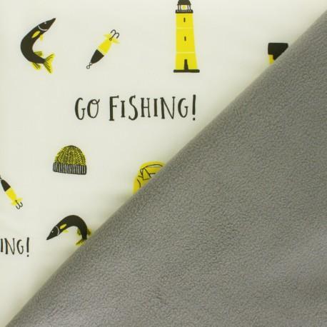 Softshell fabric - cream Let's go Fishing x 10cm