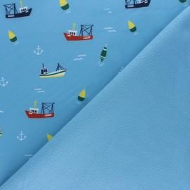 Tissu Softshell Pêche en mer - bleu x 10cm