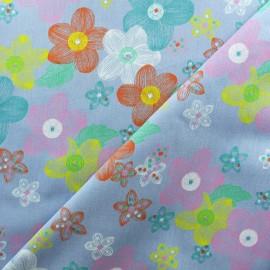 Light Chambray denim fabric - Blue Pop Flower x 10cm