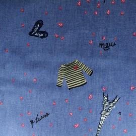 Tissu coton Chambray Pop Flower - bleu ciel x 10cm