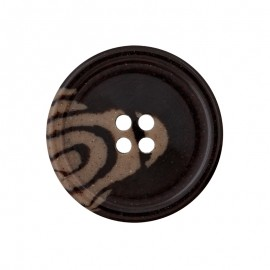 Recycled Plastic Button - Coffee Woody