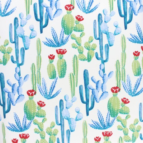 Oilcloth fabric - white Bengale x 10cm