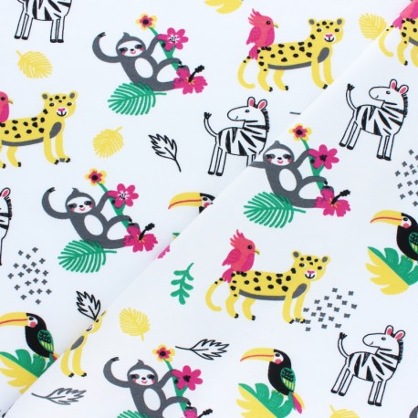 Cotton Jersey fabric - white Joogle x 10cm